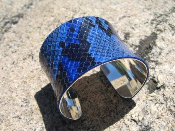 Royal Blue Python Cuff , Silver Lined  Snakeskin Leather Wrap Bracelet