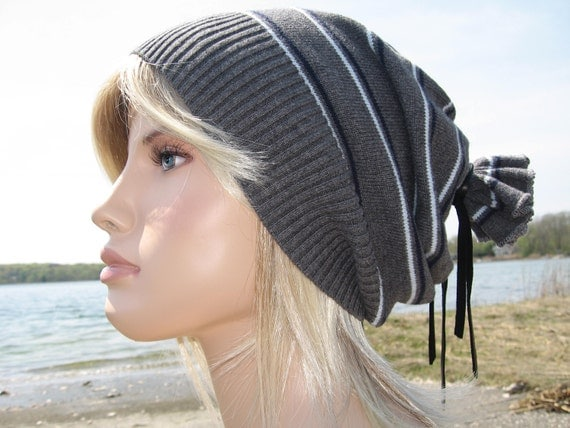 Artist Style Slouchy Beanie Hat , Grey  Stripe Tam, Men's Lightweight Spring Cotton