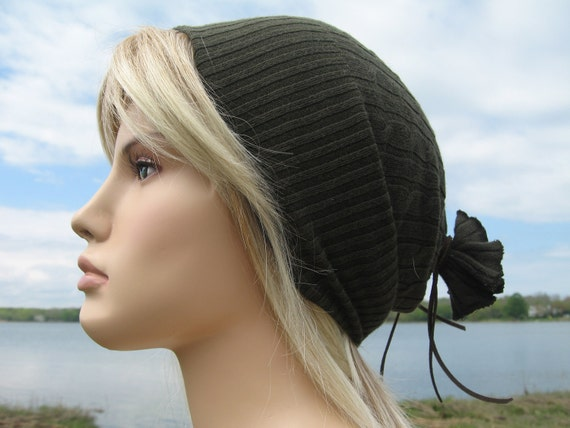 Tight Olive Green Beanie Hat, Cotton Cable Knit Watch Cap