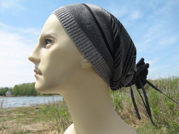Men's Slouchy Beanie Hat, Lightweight Fashion Musician Style,Black  Grey Stripe