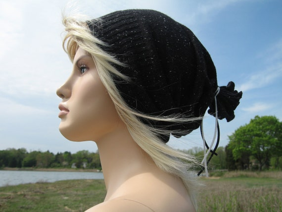 Black & White Slouchy Beanie Hat, Soft Cotton Cashmere Tam by Vacationhouse