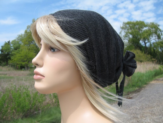 Charcoal Grey Slouchy Beanie Hat, LightWeight Wool Unisex Tam with Leather ties