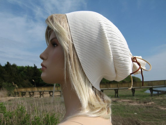 California Girl Super Slouchy Beanie HAT White Oversized Ladies Tam