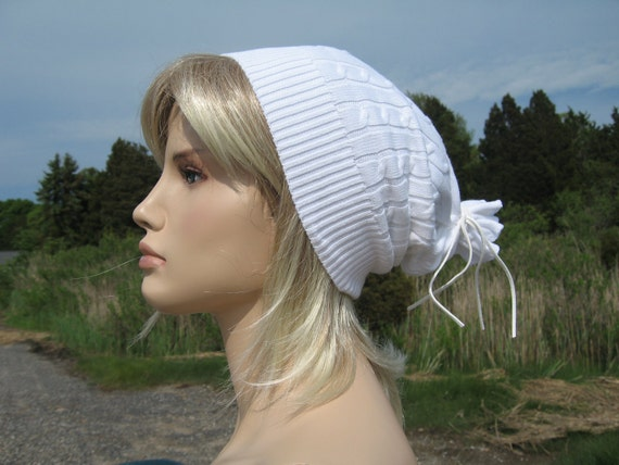 Slouchy Bohemian White Knit Slouch Beanie Hat Baggy Ladies Tam