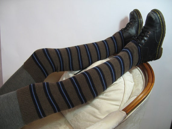 Thick Boot Socks Thigh High Over the Knee Leg Warmers Brown Striped Knit A628