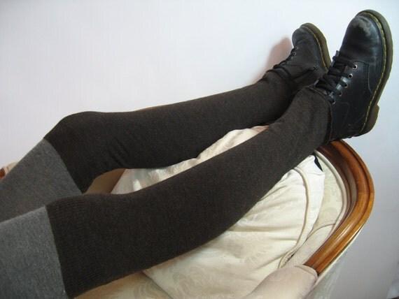 Merino Wool Over the Knee Leg Warmers,Thigh High  Footless Boot Socks