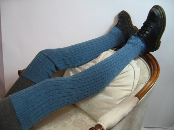 Super Tall Slouchy Thigh High Boot Socks Over the Knee Leg Warmers Teal Blue Cable Knit B653
