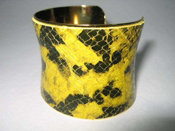 Python Snakeskin Embossed  Leather Cuff , 24K Gold Plated Wrist Band Wrap