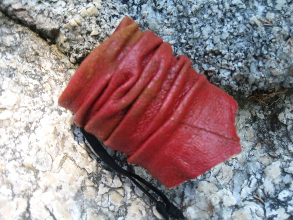 Leather Cuff Bracelet, Leather Wrist Band, Red Distressed leather Wrist Wrap Men's Ladies