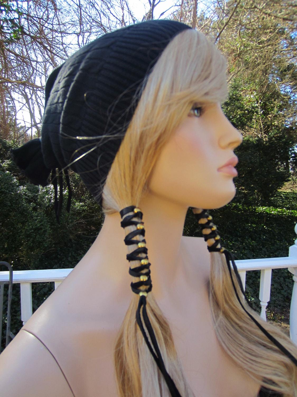 BOHO Leather Hair Wrap Ties Beaded Hair Accessories Ponytail
