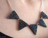 Bunting Flag Necklace Black Glitter Triangle