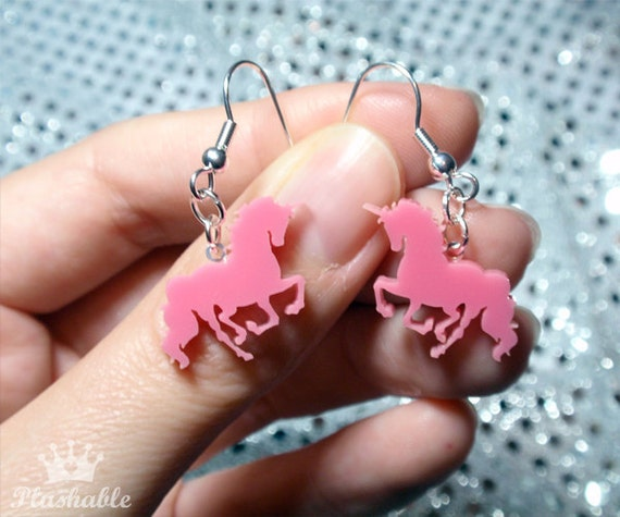 Pink Unicorn Earrings Valentines Day