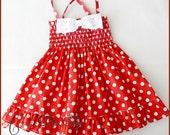 Red and white polka-dot dress for little girls - Polka-dot dress for baby -  Easter dress - Birthday dress - Red and white polka-dot dress