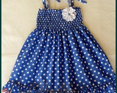 Blue and white polka-dot dress, girls frilly dress, Girls blue white polka-dot dress, Baby blue and white polka-dot dress, summer dress