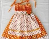 Orange and white polka-dot APRON dress for little girls - Orange polka dot dress for girls - Orange apron dress - Halloween dress for girls