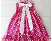 Pink and white polka-dot dress for little girls - Pink and white frilly dress - Girls pink polka-dot dress - Minnie Mouse dress