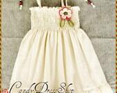 Ivory Dress for girls - Girls cream dress - Baby girls ivory dress - Natural cotton dress for girls - Summer dress -  Birthday dress