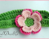 Green Hairband Headband with Double Layer Flower - Great Photo Propbaby infant toddlers cute design for baby girls photo prop