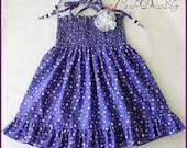 Girls purple dress, Frilly purple dress, Patterned Purple Dress for little girls, Spring dress, purple cotton dress, purple toddler dress