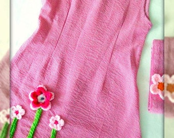 Pink Checkered Dress for  8 years old - Girls hot pink dress - Girls pink dress - ready to ship.