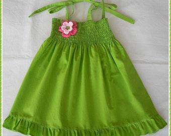 Lime green cotton dress for girls, Green dress for little girls, Green Spring and Summer dress, Green frilly dress,  Girls beach dress