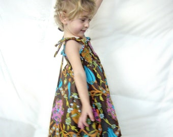 Brown and Blue dress for little girls, Girls Cheesecloth dress, Girls Comfy dress, Girls brown soft cotton dress, Cheesecloth dress for baby