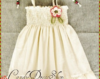 Girls ivory cotton dress, Girls cream dress, Baby girls soft dress, Natural cotton dress for girls, Summer dress,  Ivory Birthday dress