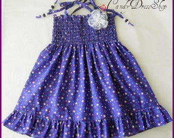 Girls purple dress, Frilly purple dress, Patterned Purple Dress for girls, Spring dress, Baby purple dress, purple toddler dress, Size: 2T