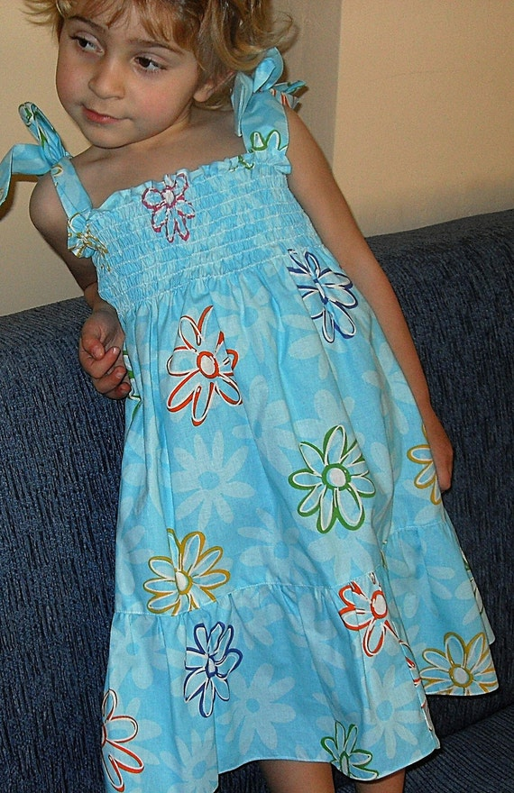 Blue Candy Dress with spring flowers for 4T- 5T baby infant toddlers cute design for baby girls photo prop