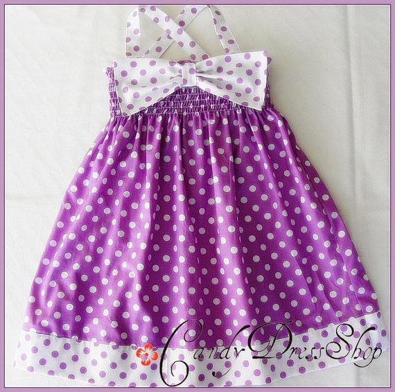 Purple and white polka-dot dress, Big bow dress for little girls, Girls purple and white dress, Birthday dress, Bow dress for Baby girls