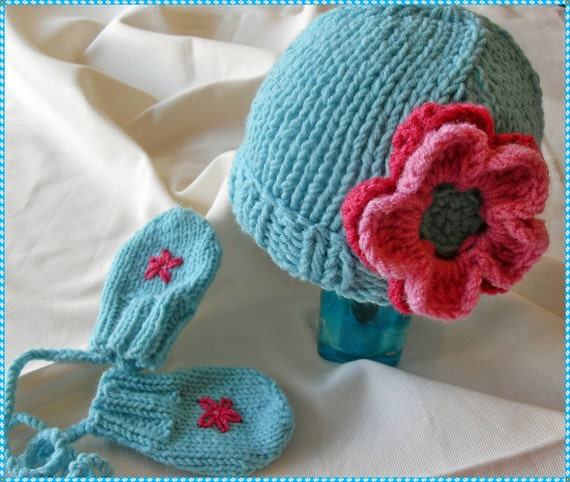 Baby aqua blue hat & mittens set, Hat and Matching mittens for baby girls, Baby shower gift blue hat and mittens set, Blue hat and mittens