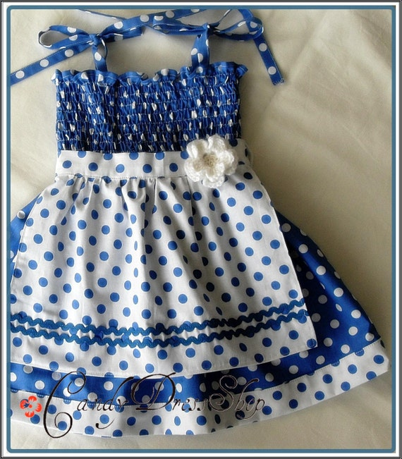 Blue and white polka-dot APRON dress for little girls-Size 3T-4T