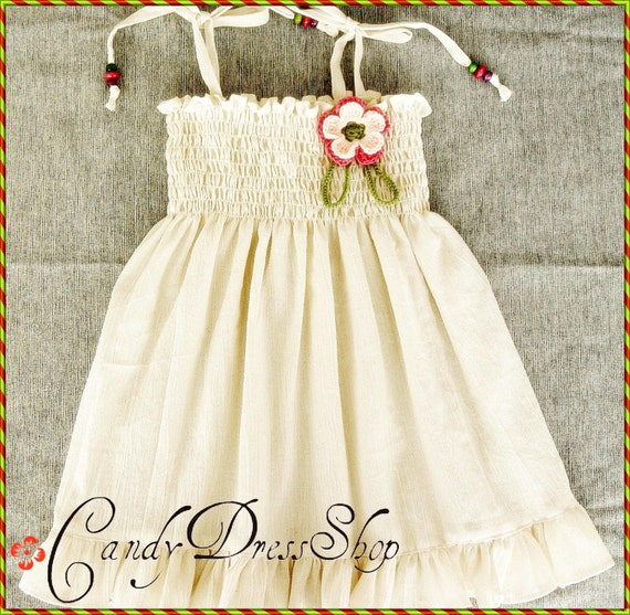 Girls ivory dress - Girls cream dress - Baby girls soft ivory dress - Natural cotton dress for girls - Summer dress -  Ivory Birthday dress