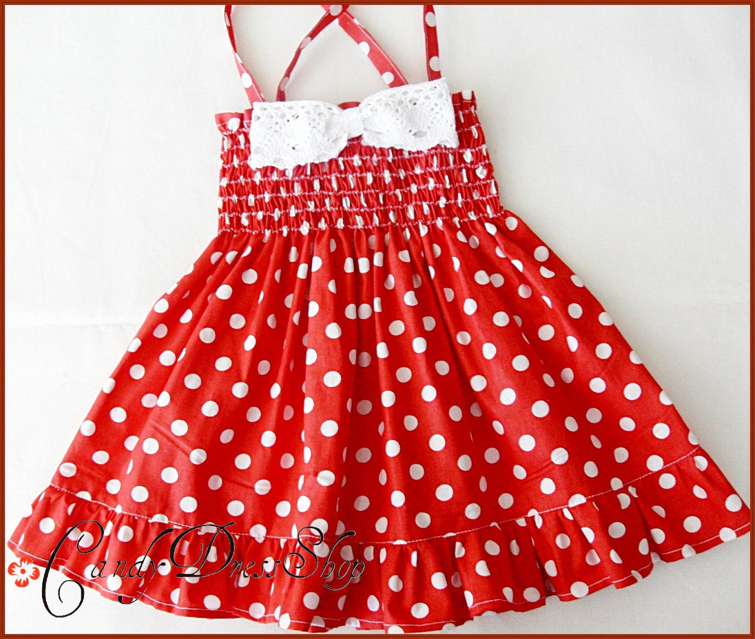 Red and white polka-dot dress for little girls Polka-dot