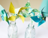 Pinwheels- Set of 12 Twirlable Paper Pinwheels- 'Sweet Blues' Wedding Favors- Paper Goods