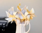 Pinwheels- Set of 12 Grey and Yellow Mini Twirlable Pinwheels - 'Mostly Sunny'