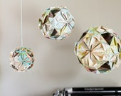 Wedding Decor- Set of 3 Origami Globes crafted from Vintage Atlas Paper Maps