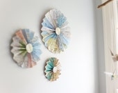 Paper Pinwheel Fans -Set of 3 Atlas Pinwheel Fans- Made from Vintage Atlas Paper