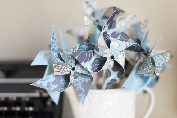 Pinwheels- Set of 12 Little Twirlable Paper Pinwheels- 'Pearly Blue and Grey'