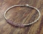 Lavender Amethyst February Birthstone Bracelet Karen Hill Tribe Silver Beads Beaded Bracelet Beadwork Woman's Bracelet Silver Gemstone Stone