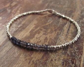 Iolite Bracelet Iolite Bracelets Beaded Bracelet Gift for Women Iolite Bead Bracelet Iolite Jewelry Silver Bead Bracelet Best Friend Gift
