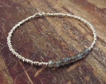 Labradorite Bracelet Labradorite Bracelets Beaded Bracelets Girlfriend Gift Wife Gift Spectrolite Jewelry Hill Tribe Silver Bead Bracelet