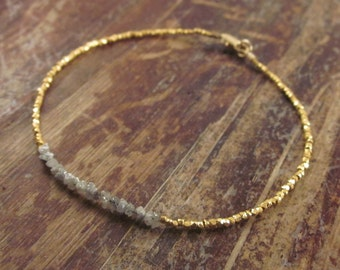 Diamond Bracelet Raw Diamond Bracelet Diamond Beaded Bracelets April Birthstone Gold Bead Bracelet Womens Gift for Her Rough Diamond Jewelry