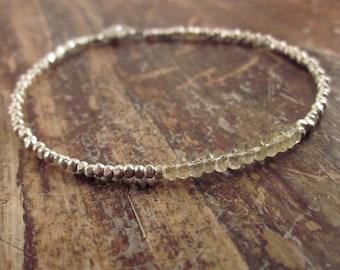 Lemon Quartz Bracelet Lemon Quartz Bracelets Beaded Bracelets Silver Bead Bracelet Womens Gift for Her Beaded Bracelet Lemon Quartz Jewelry