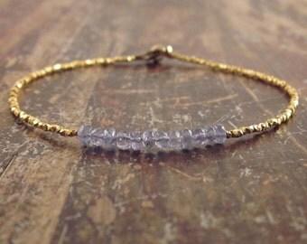 Tanzanite Bracelet Tanzanite Bracelets Gold Beaded Bracelet Womens Gift December Birthstone Bracelet Tanzanite Jewelry Gold Bead Bracelet