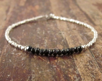 Black Spinel Bracelet Beaded Bracelet Womens Gift for Her Spinel Bracelets Spinel Jewelry Silver Bead Bracelet Black Spinel Gemstone Jewelry