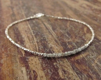 Rough Diamond Bracelet Raw Diamond Bracelets Gift for Women Girlfriend Gift April Birthstone Jewelry Womens Beaded Bracelets Bead Bracelet