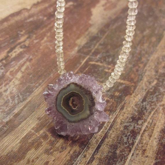 Amethyst Stalactite Necklace Stalactites Lemon Quartz Beads Beaded Beadwork Crystal Woman's Statement Necklace Stone Pendant Gemstone