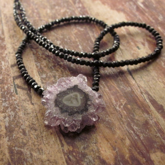 Amethyst Stalactite Woman's Necklace Black Spinel Beads Amethyst Necklaces Crystal Stalactites Stone Gemstone Beaded Beadwork Necklace
