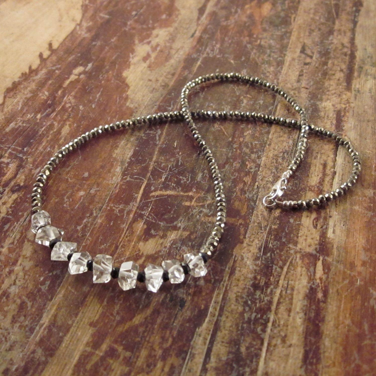 Necklace Beads: Herkimer Diamond Necklace Quartz Crystal Necklace Gift Pyrite